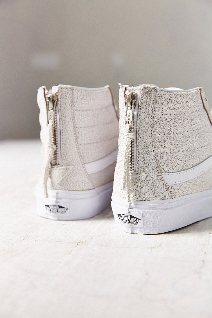 vans sk8 hi crackle suede sneaker in white lyst. Black Bedroom Furniture Sets. Home Design Ideas