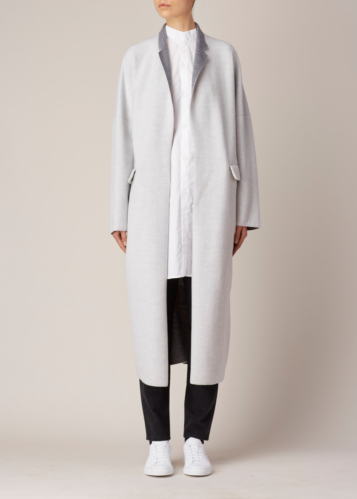 Y's yohji yamamoto Light Grey Classic Car Coat in Gray | Lyst