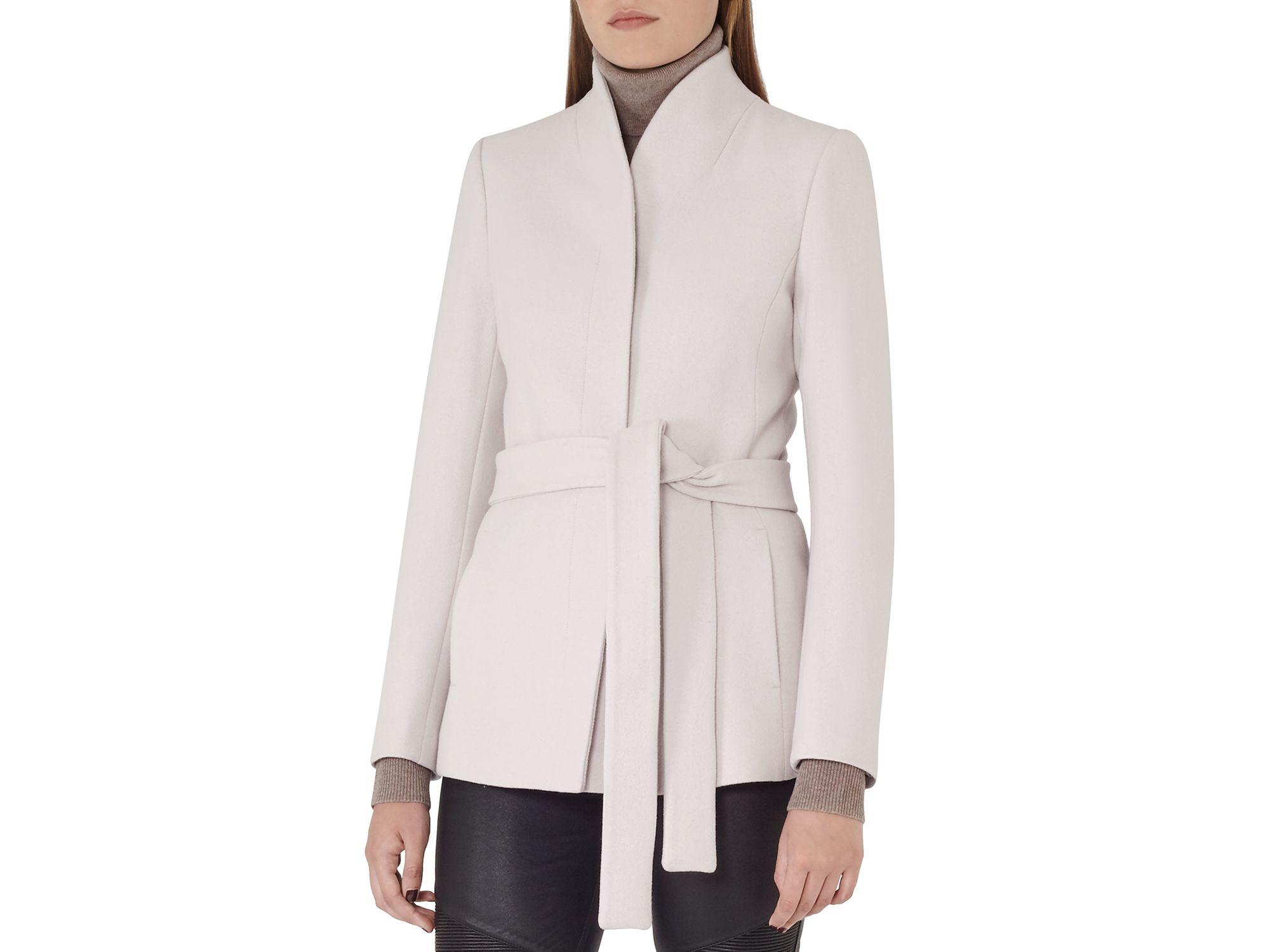 Reiss Sami Short Wrap Coat in Natural | Lyst