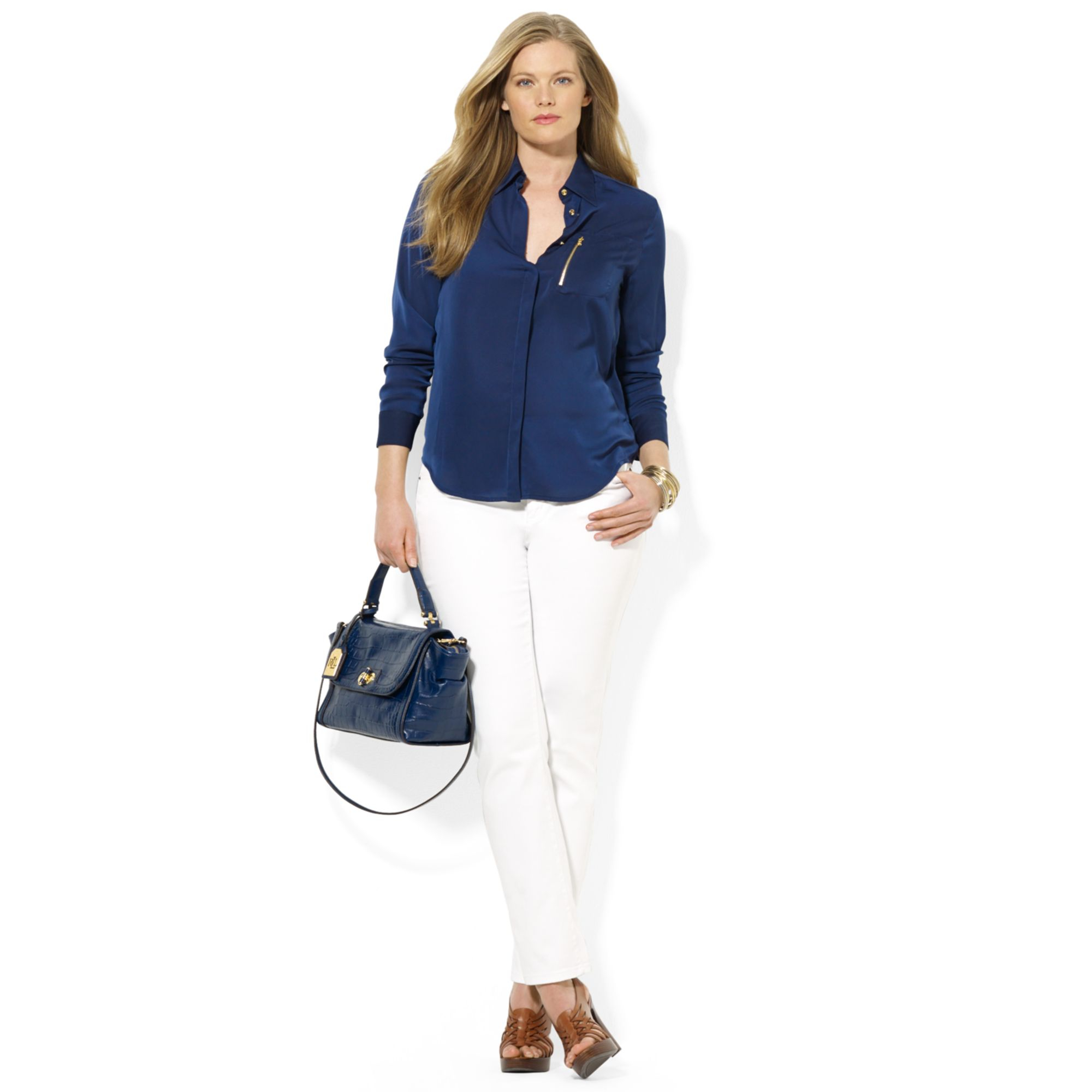 lyst lauren by ralph lauren plus size zippocket satin blouse in blue. Black Bedroom Furniture Sets. Home Design Ideas