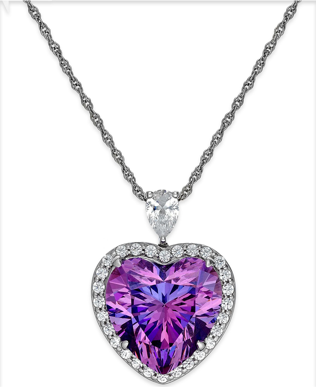 arabella purple and clear swarovski zirconia heart
