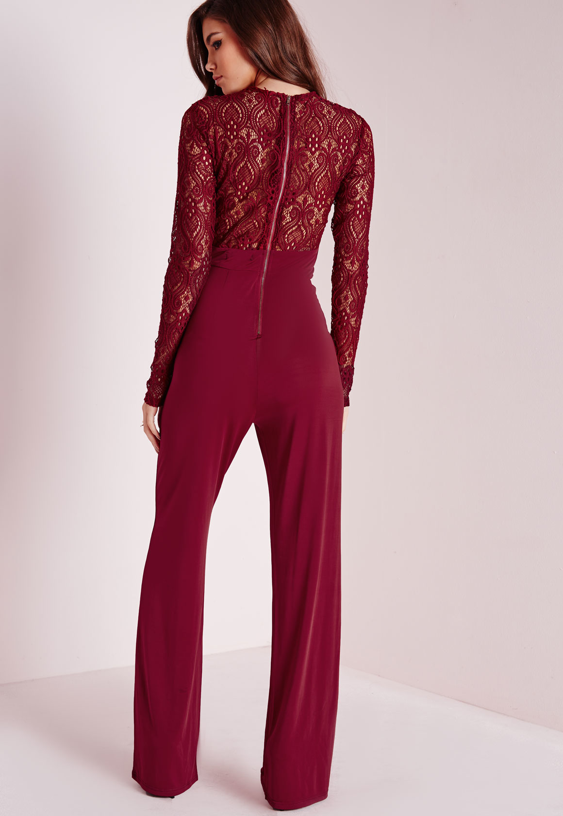 Lyst Missguided Lace Slinky Jumpsuit Burgundy In Red