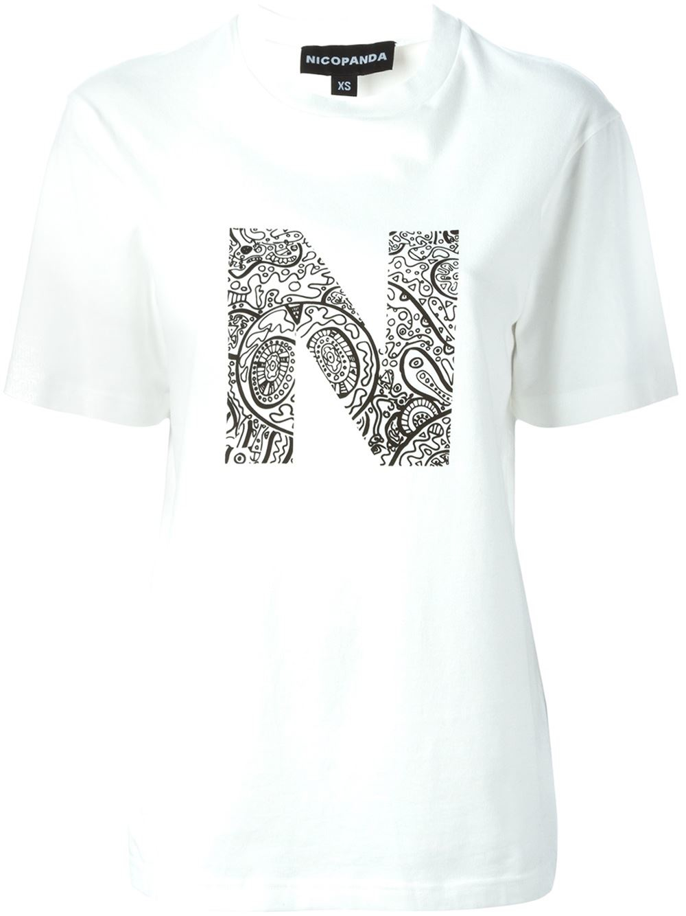 Nicopanda printed initial t shirt in white lyst for Initials on dress shirts