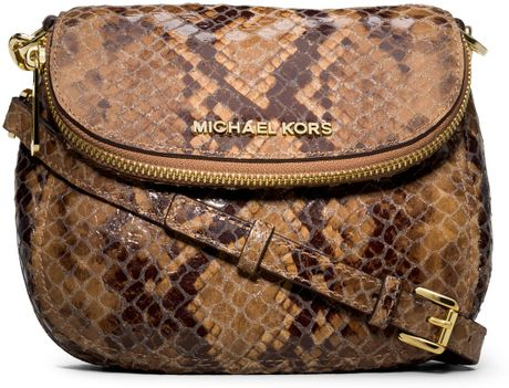 Michael By Michael Kors Bedford Snakeprint Flap Crossbody in Animal (SAND) - Lyst