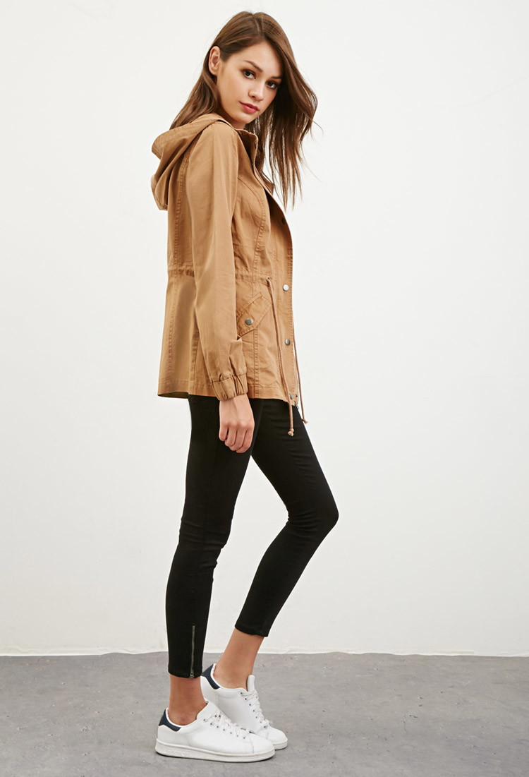 Forever 21 Hooded Drawstring Utility Jacket in Natural | Lyst