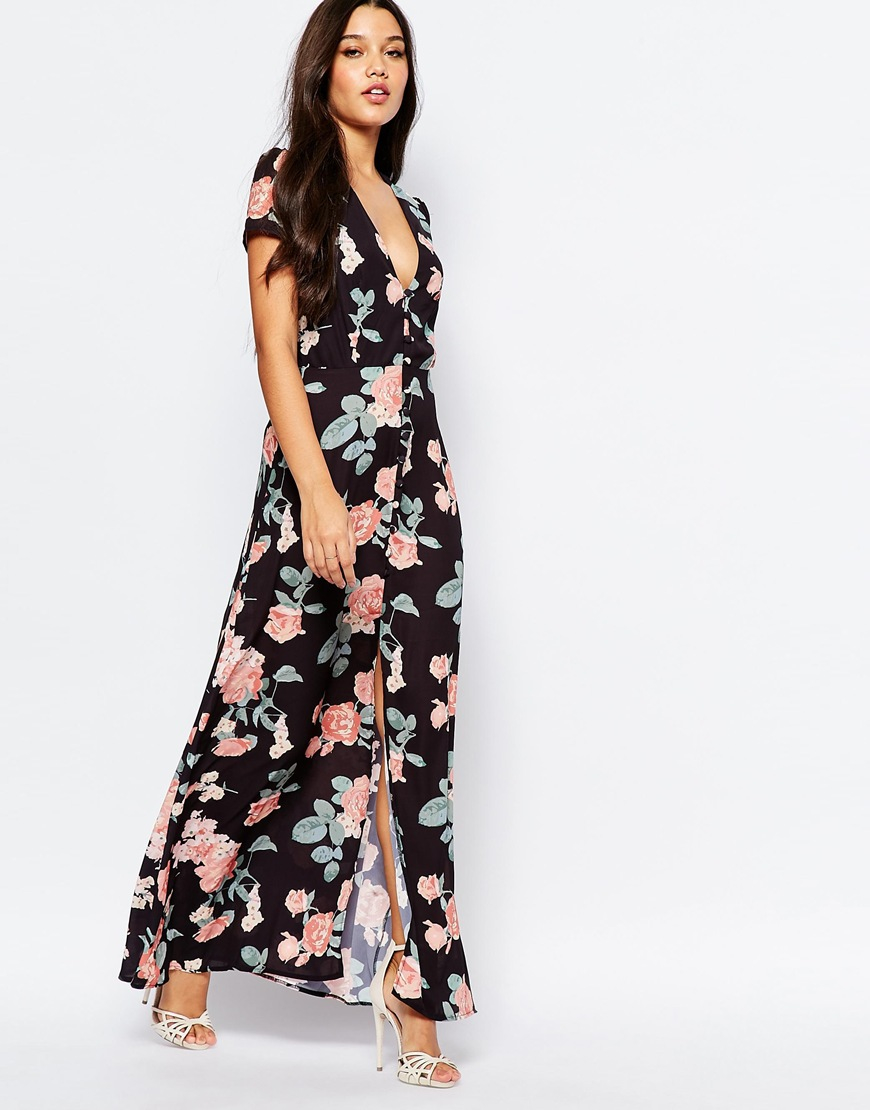 Lyst Oh My Love Maxi Tea Dress With Open Back Black Floral Print
