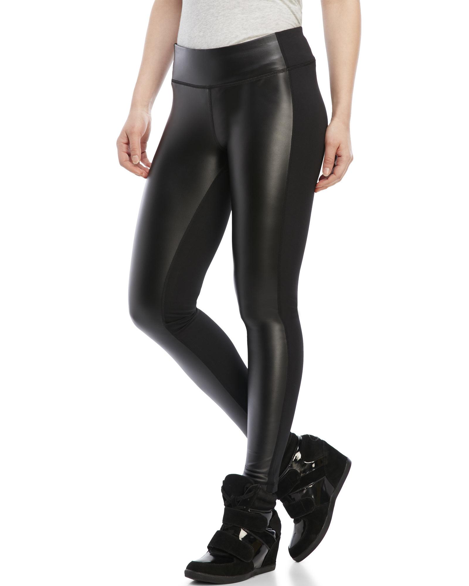 89e8b88ed068 Lyst - 90 Degree By Reflex Faux Leather Front Leggings in Black