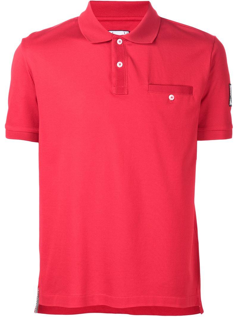 Moncler gamme bleu chest pocket polo shirt in red for men for Men s polo shirts with chest pocket