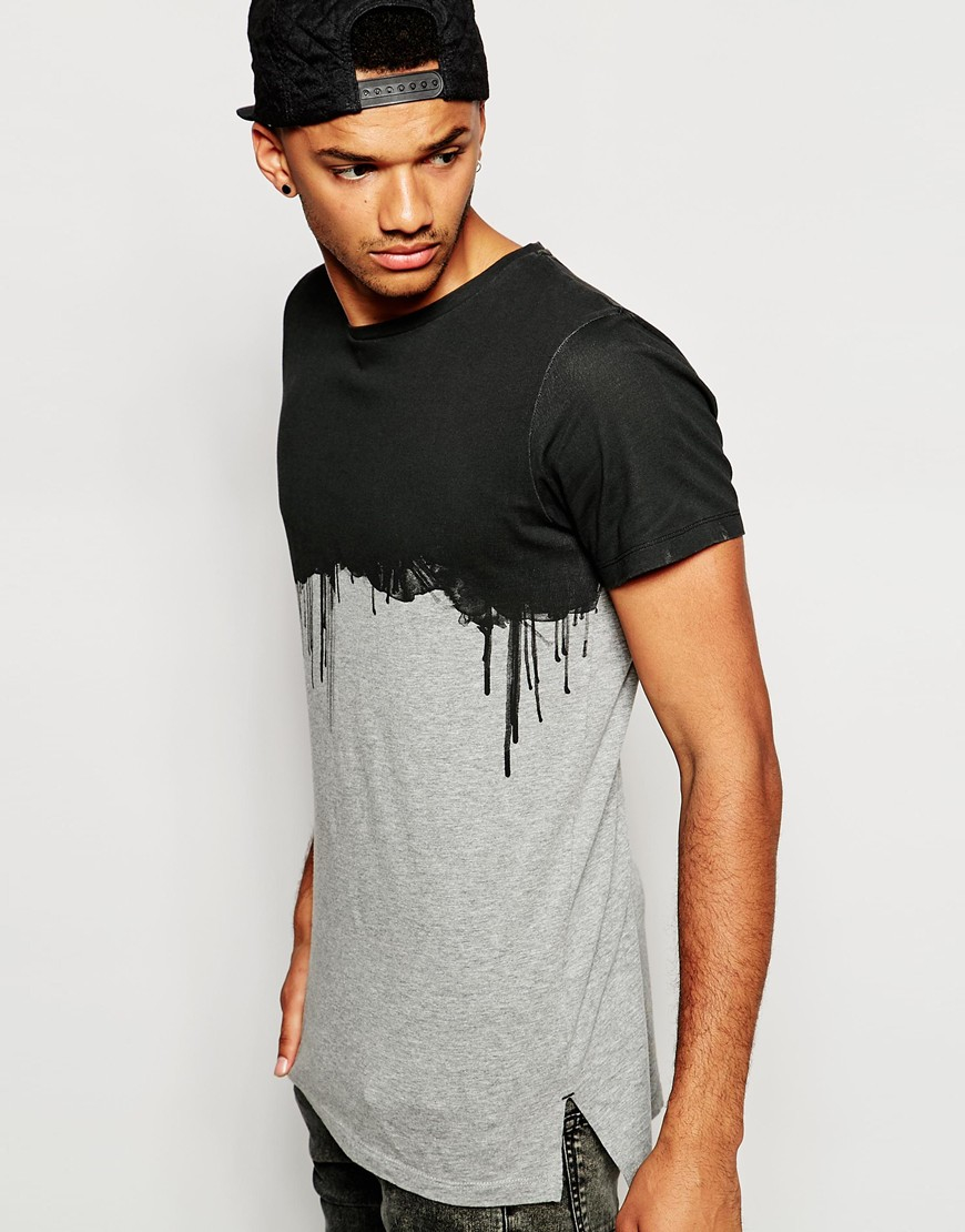 lyst jack jones t shirt with dripping paint print in. Black Bedroom Furniture Sets. Home Design Ideas