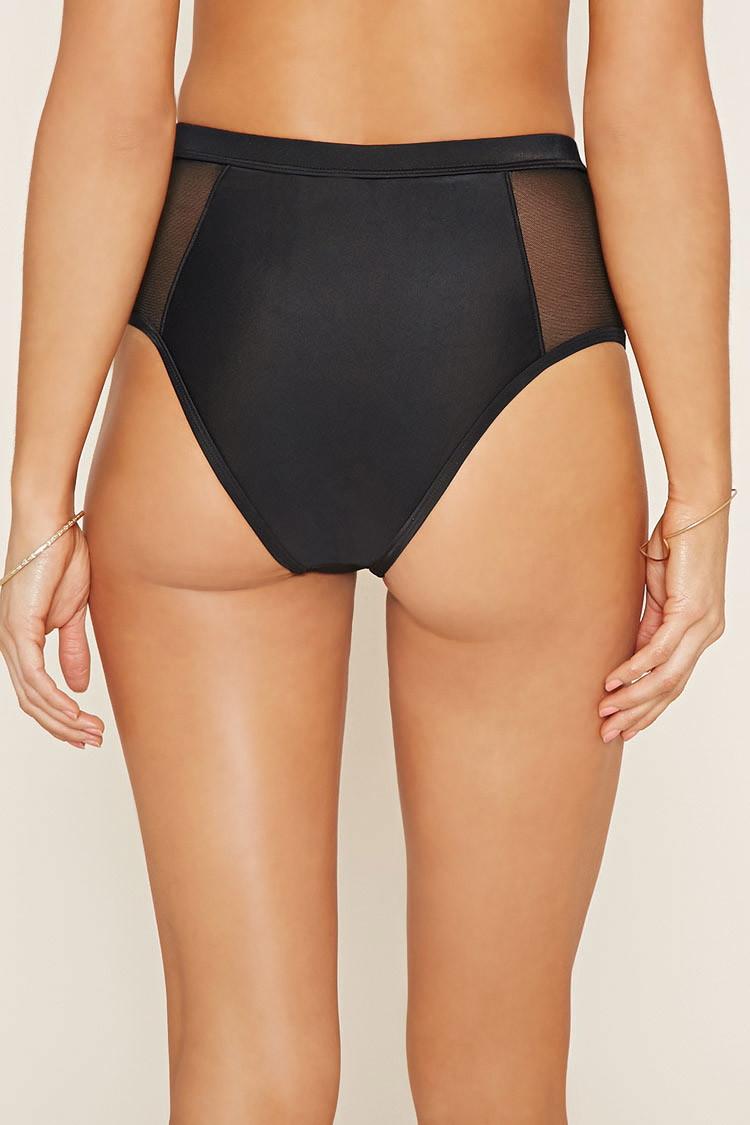 Forever 21 Mesh High-waist Bikini Bottoms in Black   Lyst