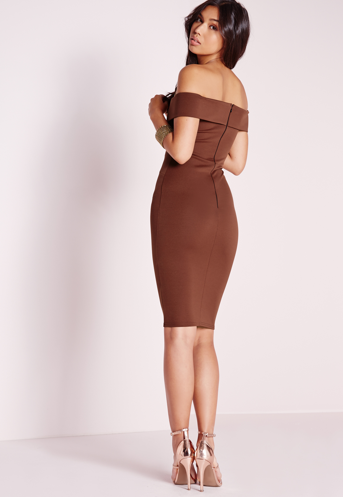 c3c3d3ef8af3 Lyst - Missguided V Front Bardot Midi Dress Chocolate in Brown