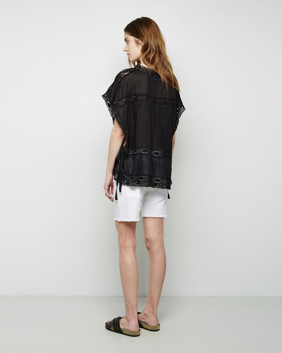 toile isabel marant newton denim shorts in white lyst. Black Bedroom Furniture Sets. Home Design Ideas