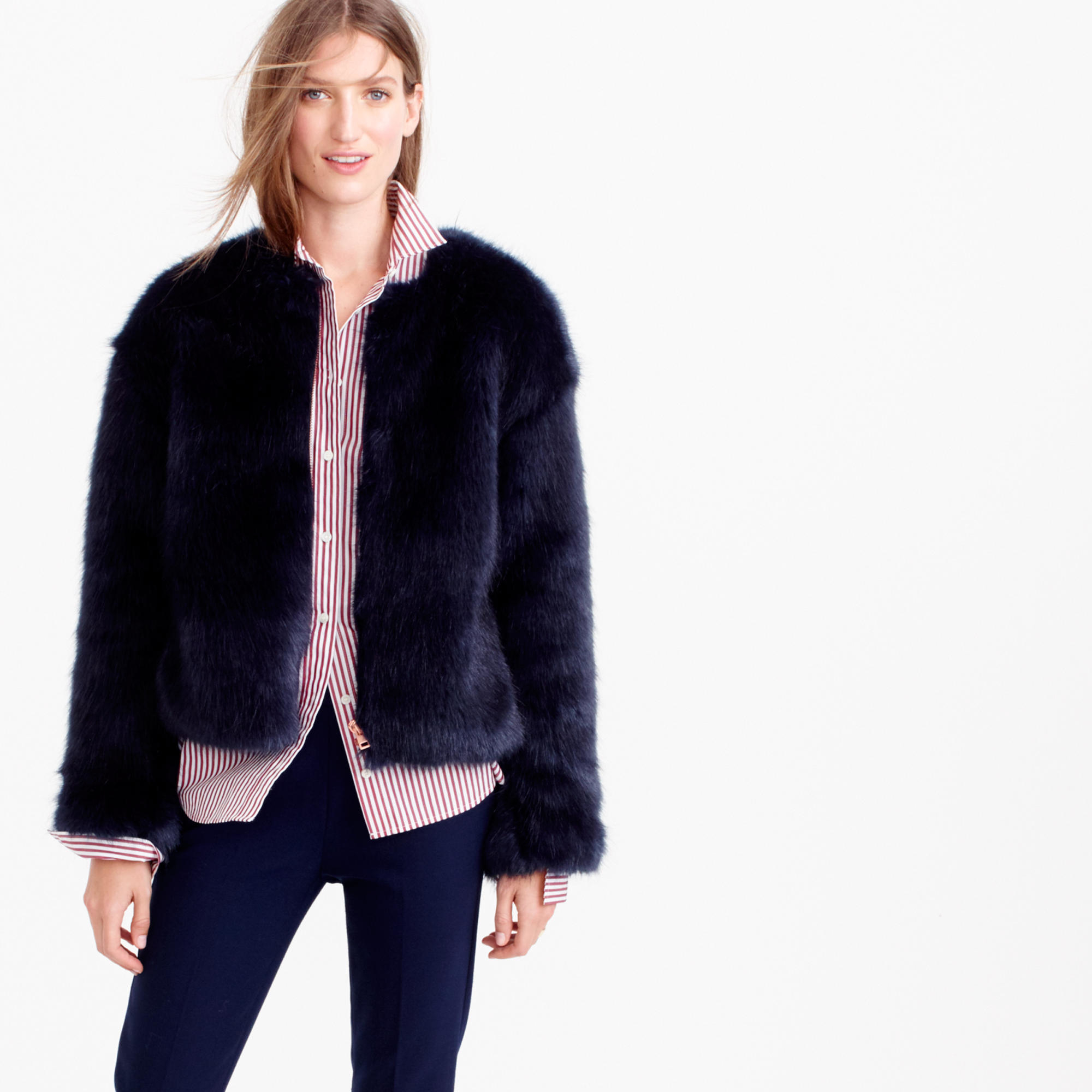 J.crew Collection Faux-fur Jacket in Blue | Lyst