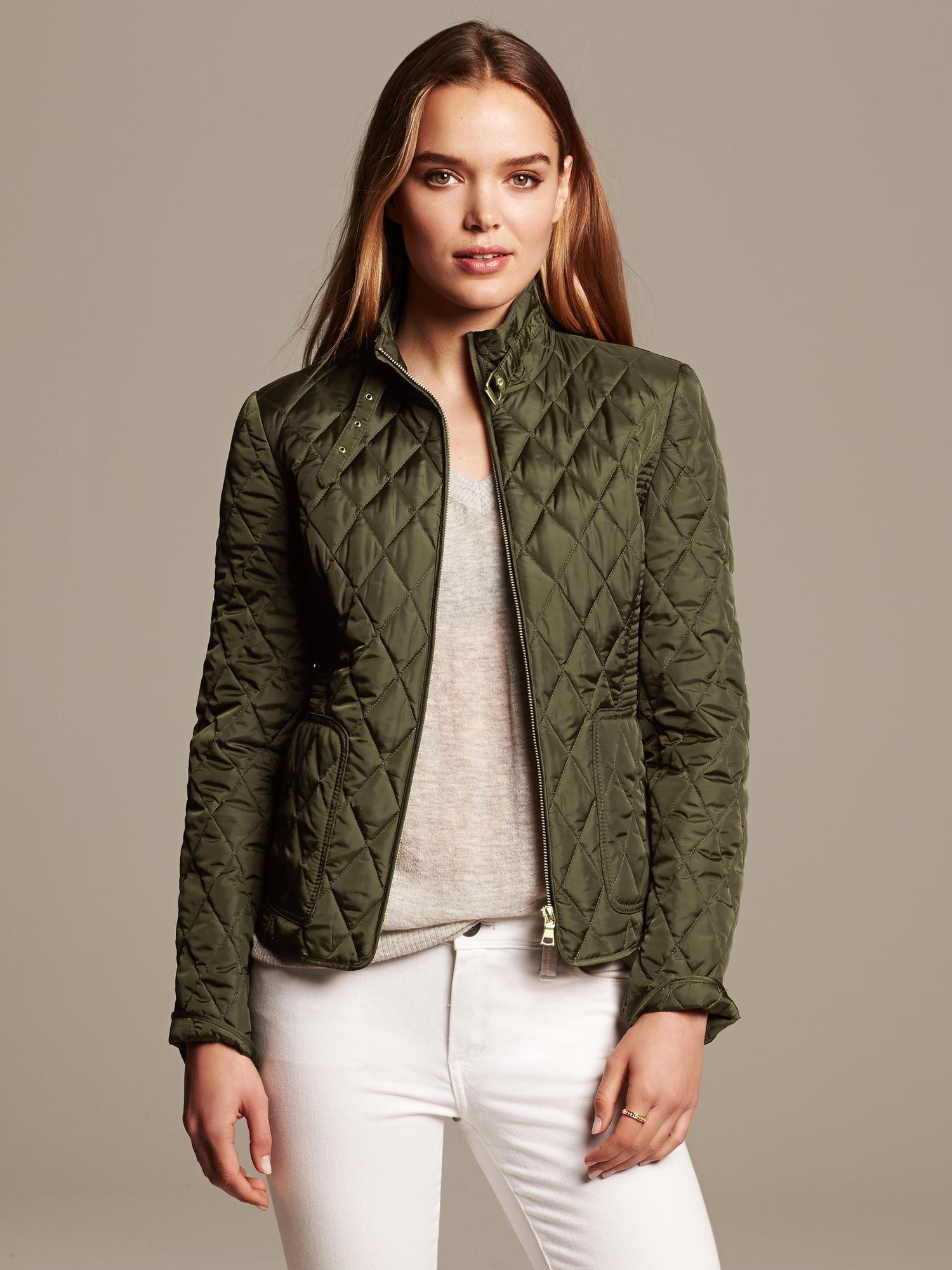 Banana Republic Quilted Field Jacket In Green Martini