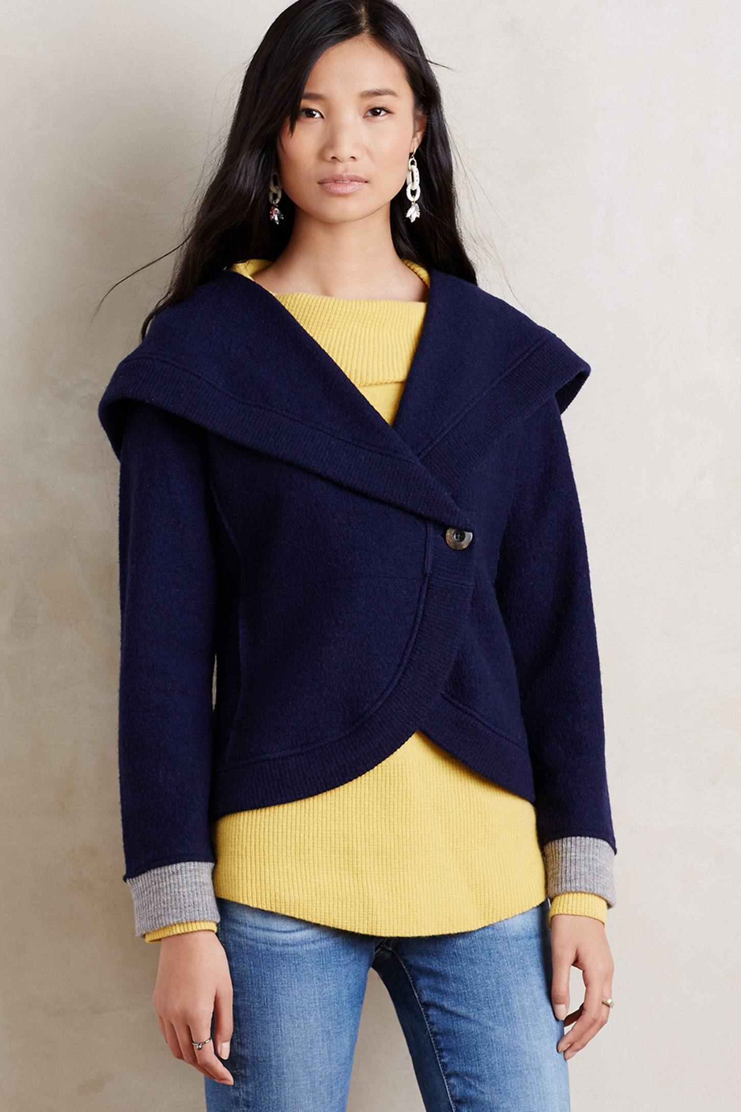 Sparrow Shawled Boiled Wool Jacket in Blue | Lyst