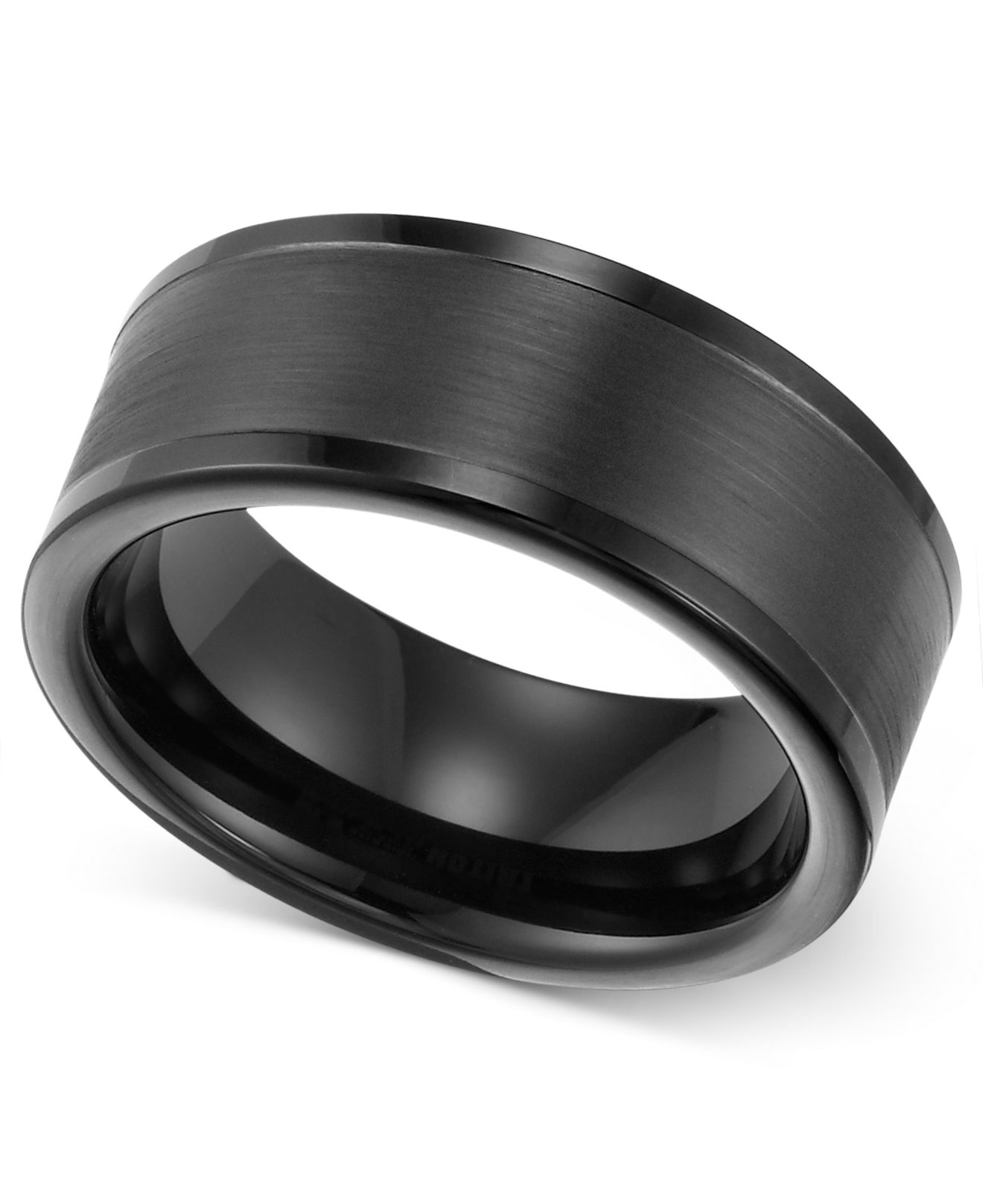 triton men 39 s 8mm black tungsten wedding band in black for men lyst. Black Bedroom Furniture Sets. Home Design Ideas