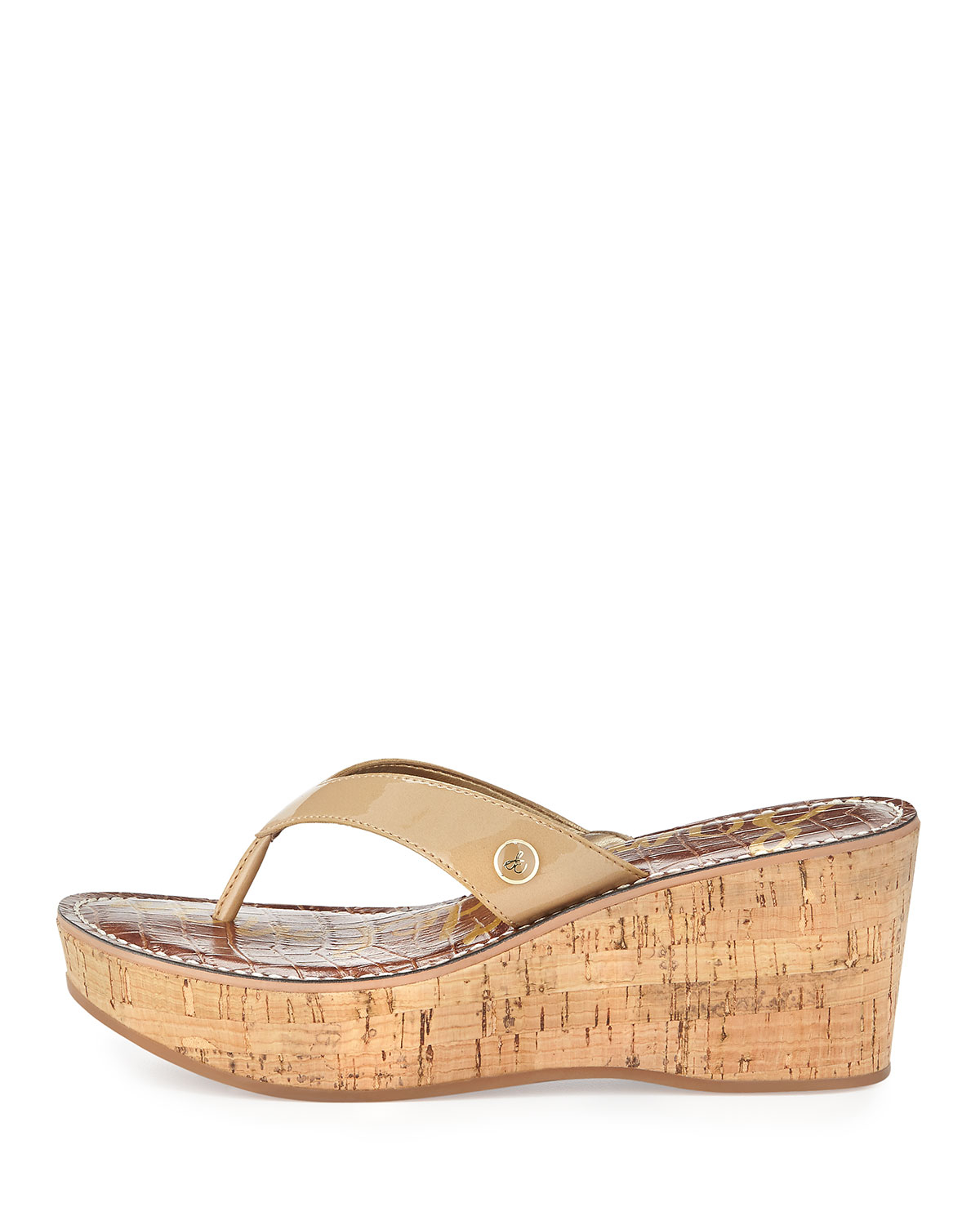 Sam Edelman Romy Metallic Leather Wedge Sandal In Metallic
