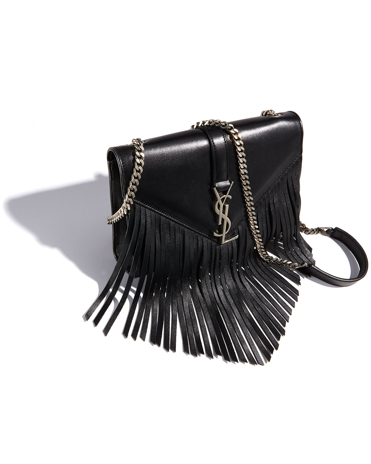 fae0b314e134 Lyst - Saint Laurent Monogram Small Fringe Shoulder Bag in Black