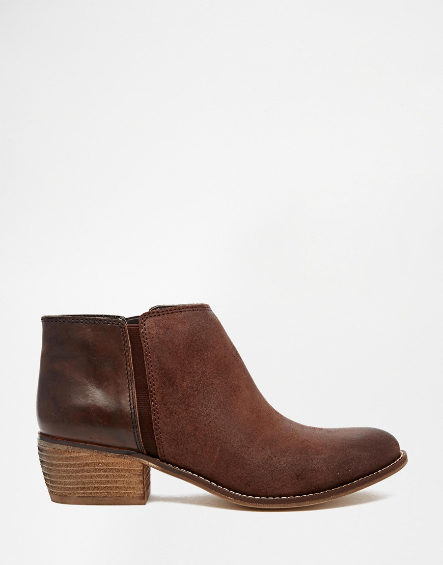 Dune Penelope Brown Leather Flat Ankle Boots in Brown | Lyst
