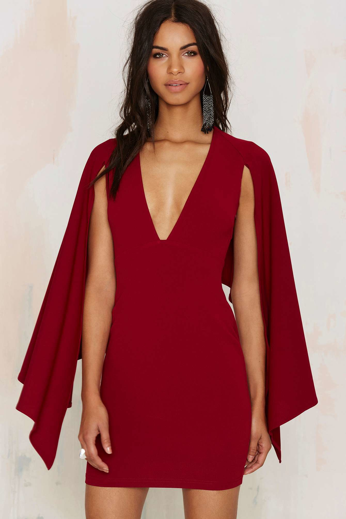 Lyst - Nasty Gal Kendra Plunging Cape Dress In Red-1351