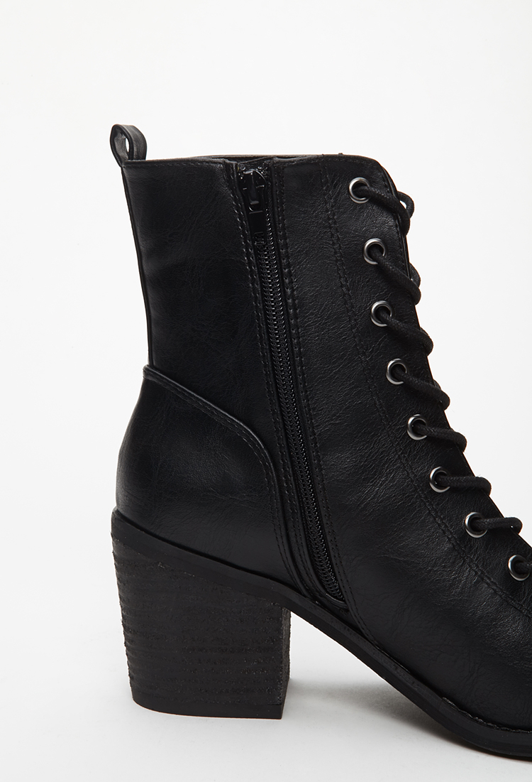 Forever 21 Lace-up Peep-toe Booties in Black | Lyst