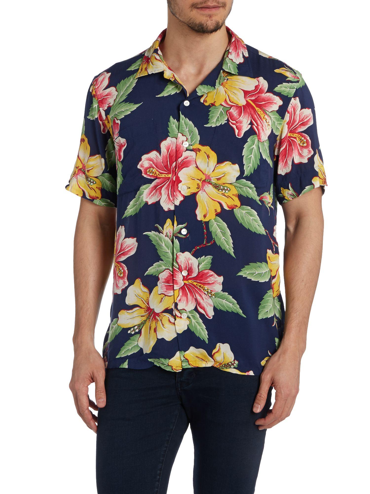 Polo Ralph Lauren Short Sleeve Floral Sport Shirt In Blue