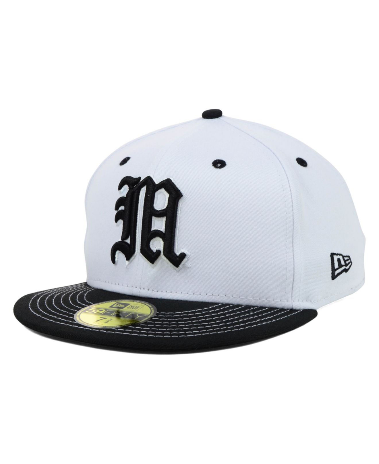889aeadfc25 ... where to buy lyst ktz miami hurricanes ncaa white black 59fifty cap in  black 884d1 db288