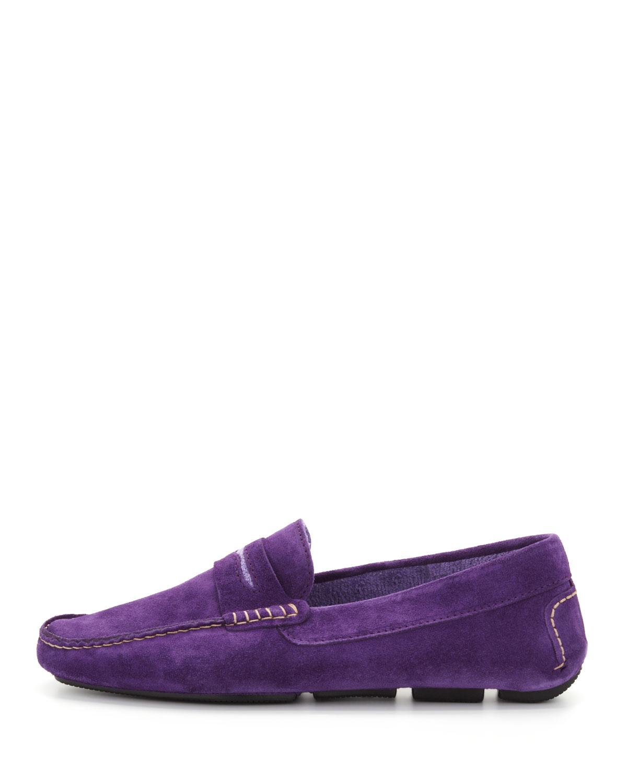 Manolo Blahnik Mens Roadster Suede Driver Loafer In Purple For Men Lyst
