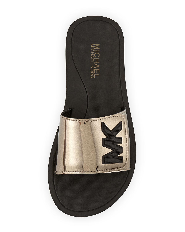 7801df0c29daf3 Lyst - MICHAEL Michael Kors Mk Sport Slide Sandals in Metallic
