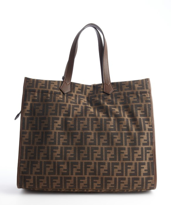 Lyst - Fendi Brown And Black Canvas Leather Accent Zucca Pattern ... 1b527140f0