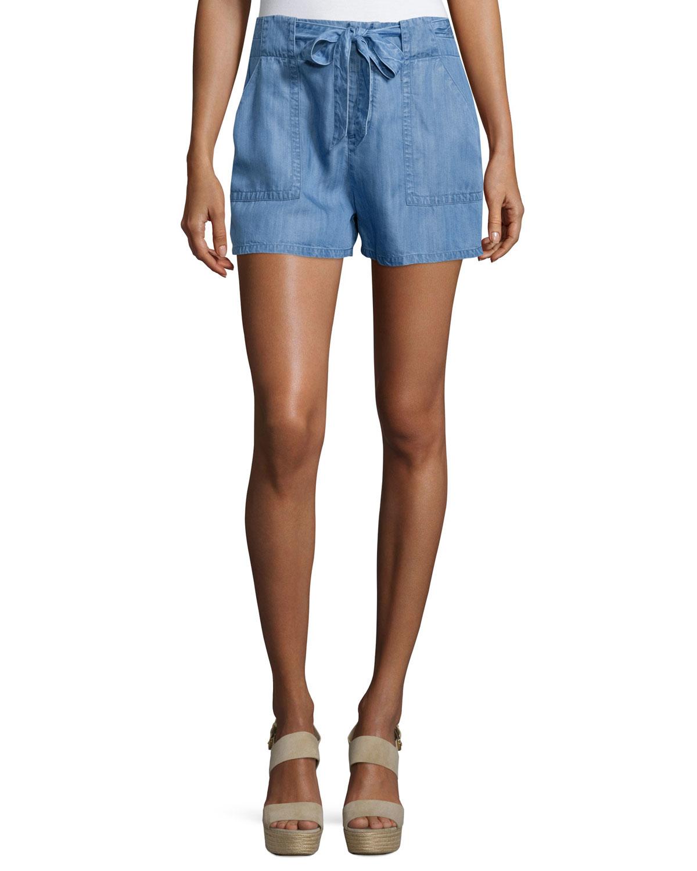 Joie Mireille Tie-front Denim Shorts | Lyst