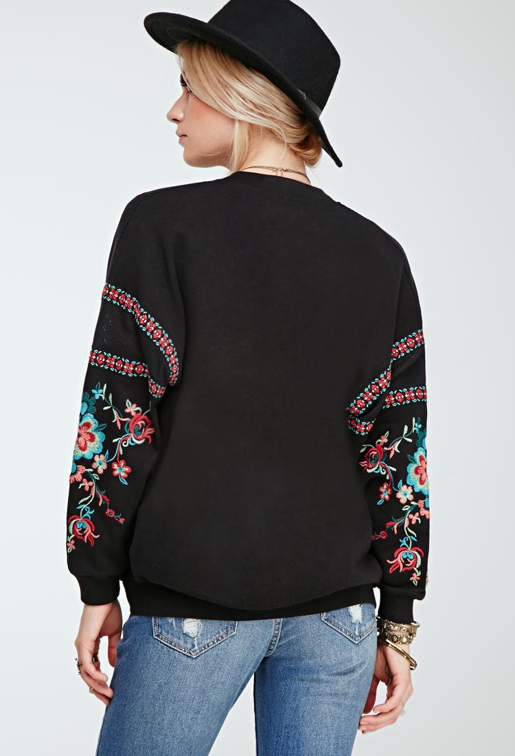 Forever floral embroidered bomber jacket in black lyst