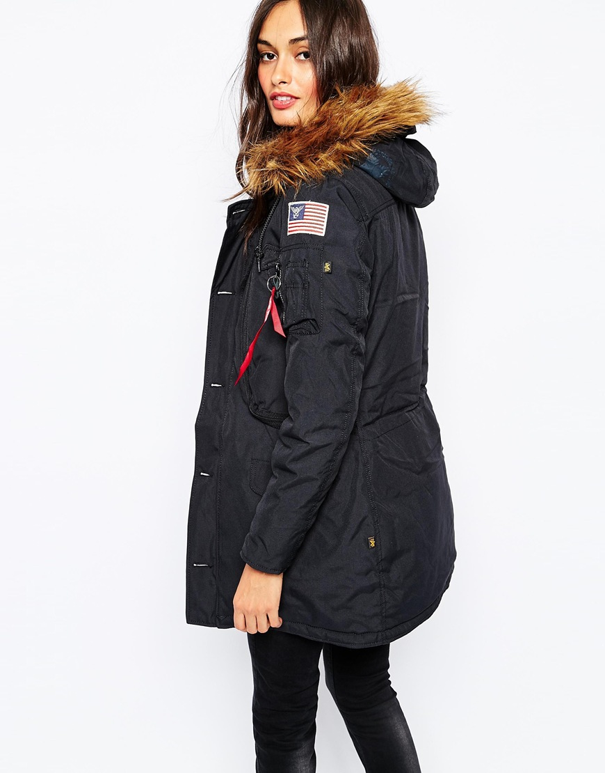 Alpha industries Polar Parka Coat With Faux Fur Hood & Patch ...