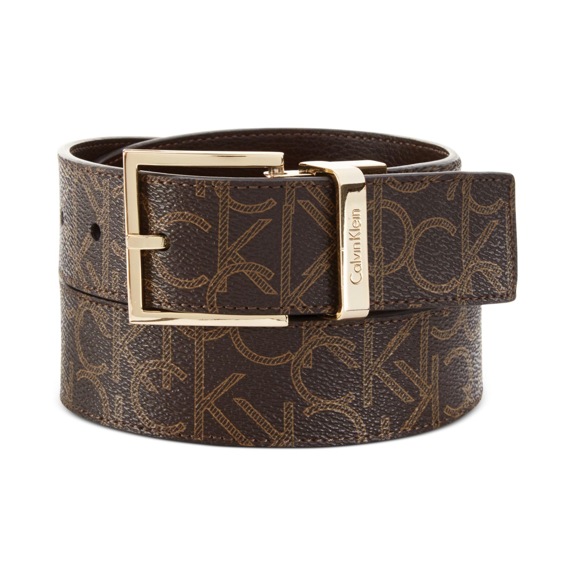 calvin klein reversible logo belt in brown chocolate lyst