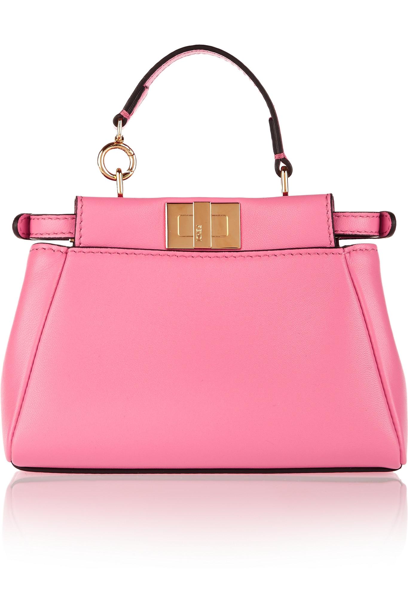cb24ec39b25 Fendi Peekaboo Micro Leather Shoulder Bag in Pink - Lyst