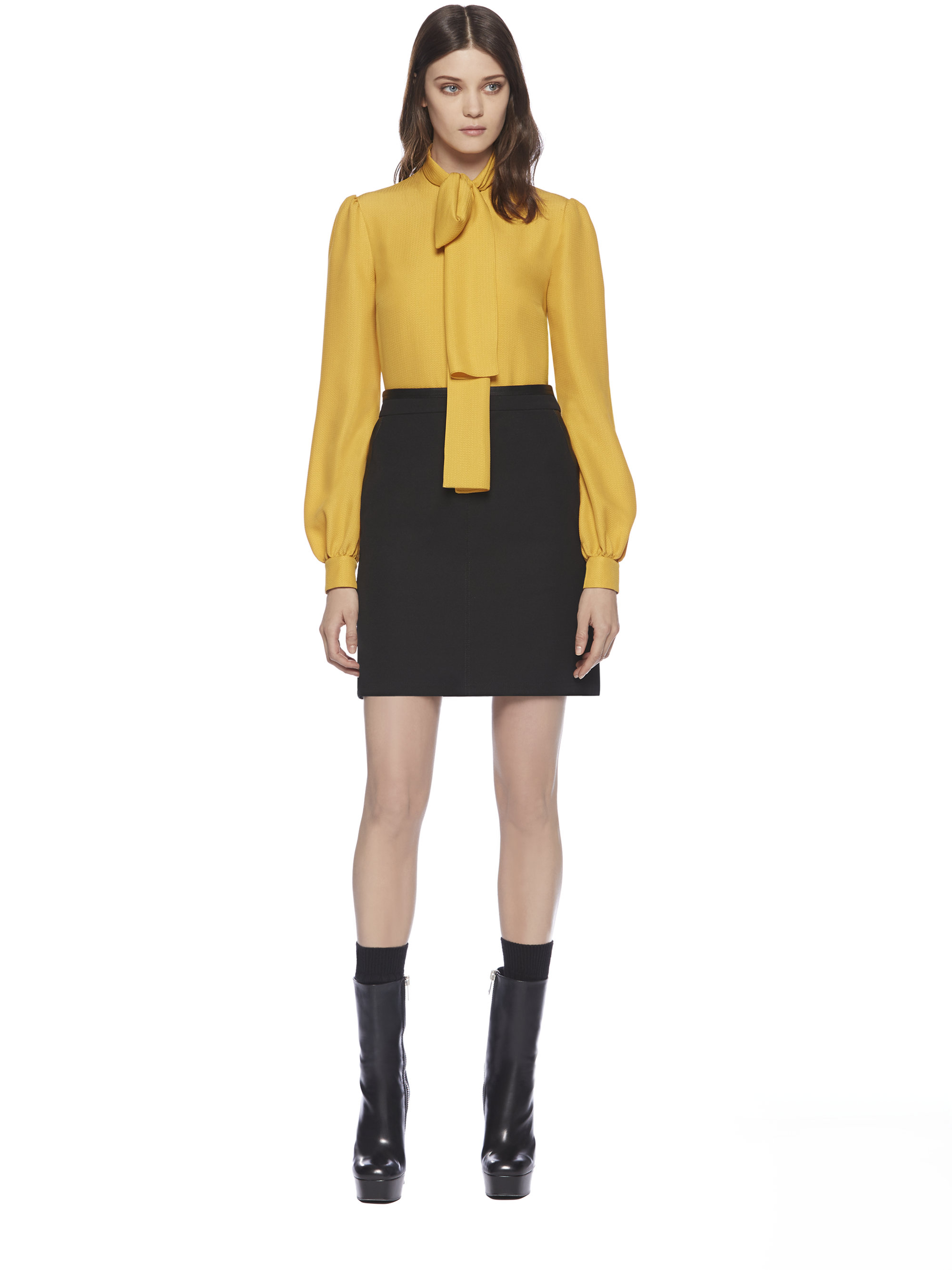 Lyst Gucci Silk Cloque Scarf Blouse In Yellow