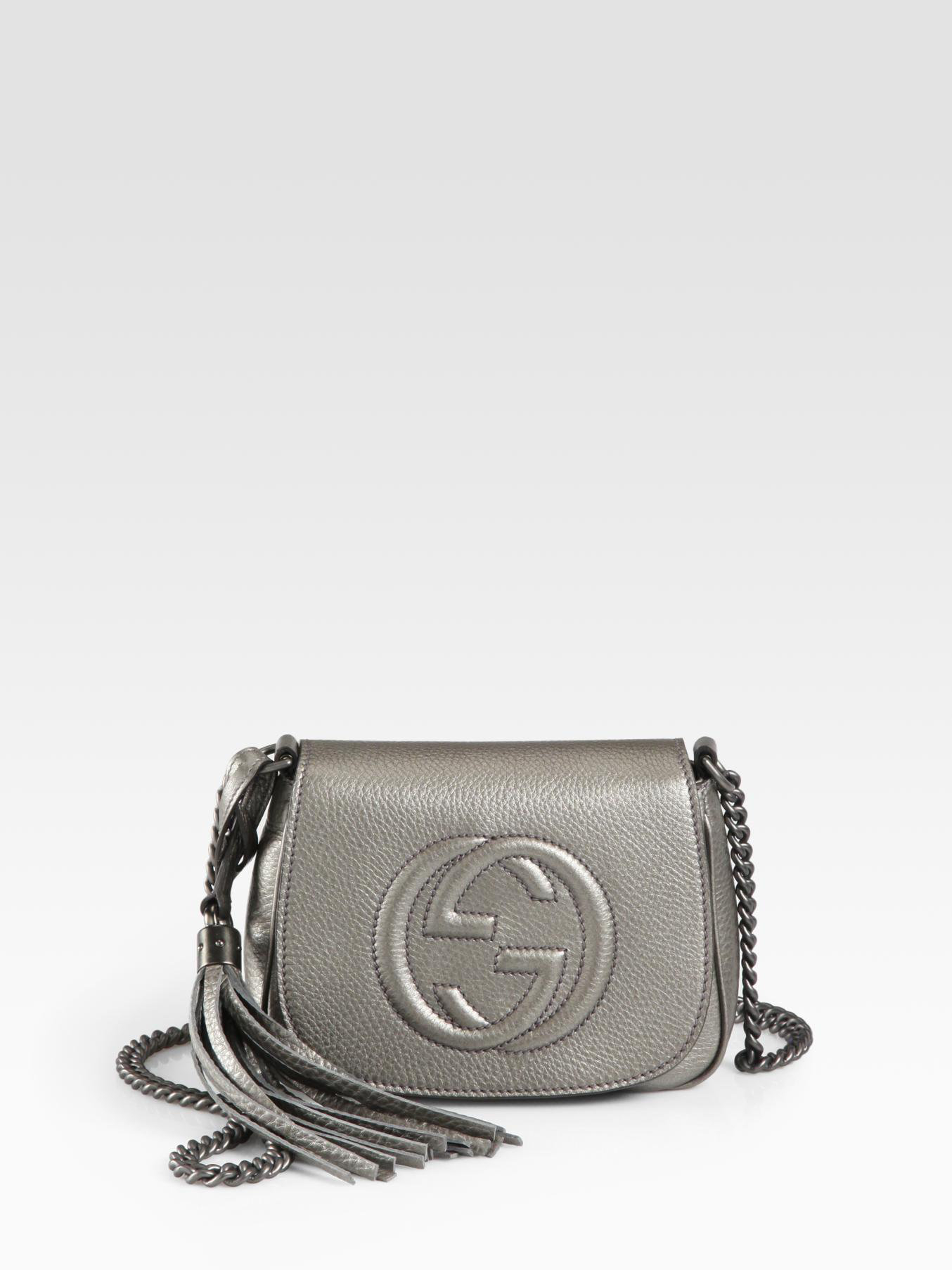Lyst Gucci Soho Metallic Leather Chain Shoulder Bag In