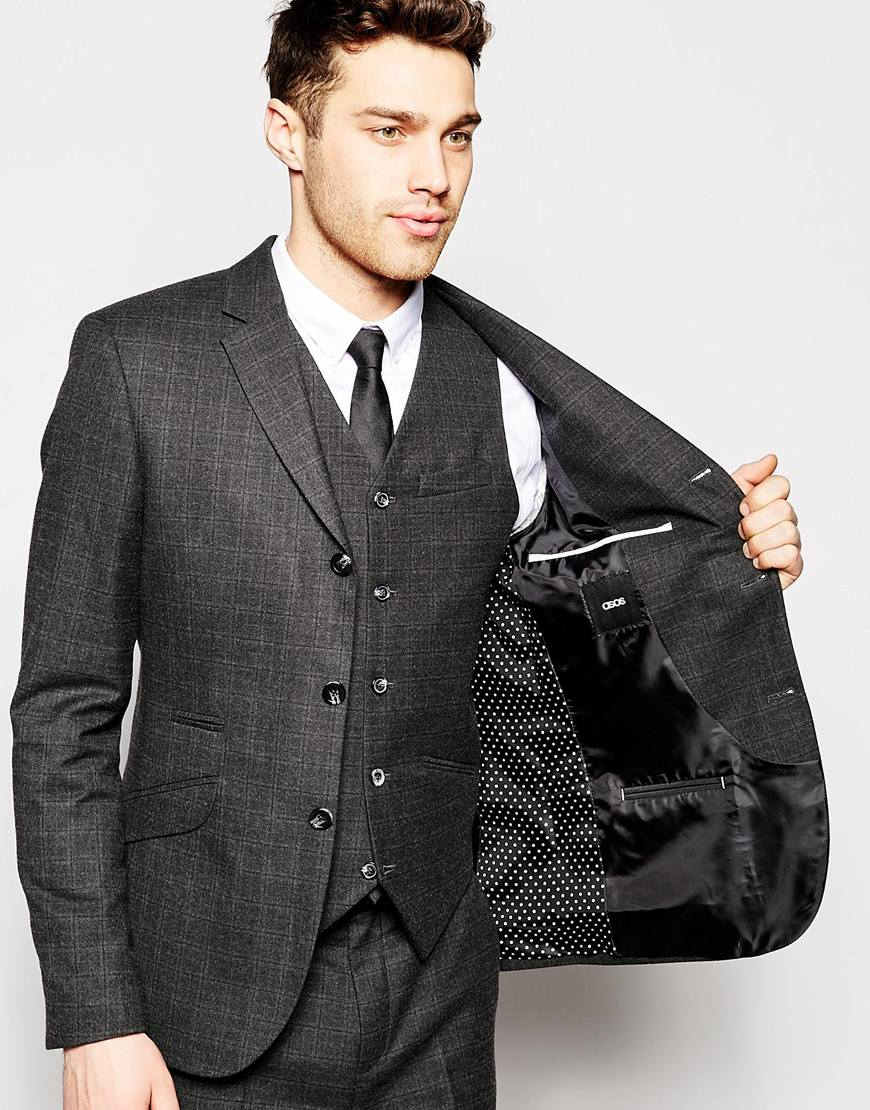 Asos Slim Fit Suit Jacket In Tartan Check - Grey in Gray for Men