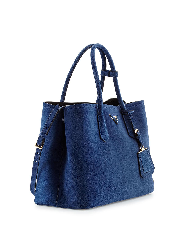 dad45fc98bb4 Prada Suede Medium Double Bag in Blue - Lyst