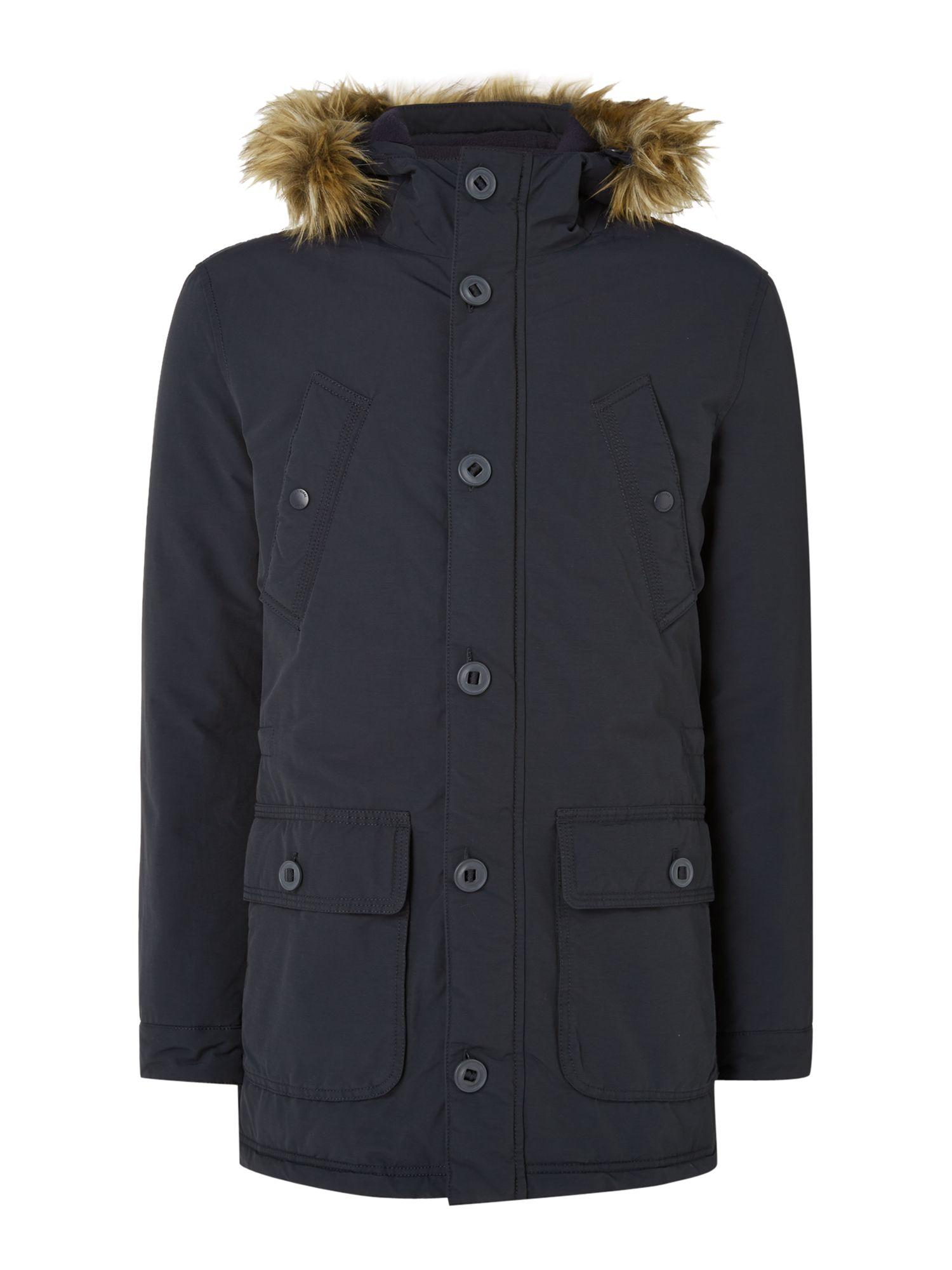 Criminal Marvin Fleece Lined Parka Coat in Blue for Men | Lyst