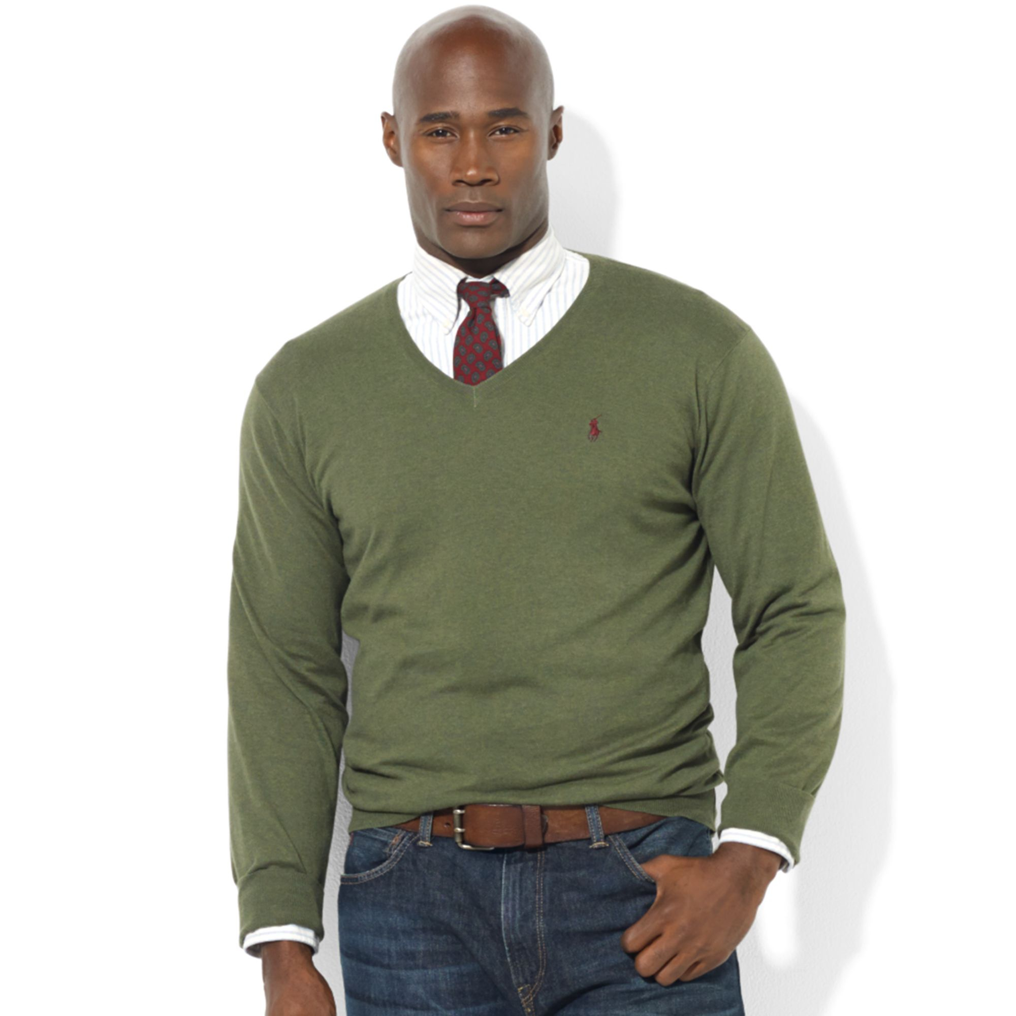 Ralph lauren V-neck Pima Cotton Sweater in Green for Men | Lyst