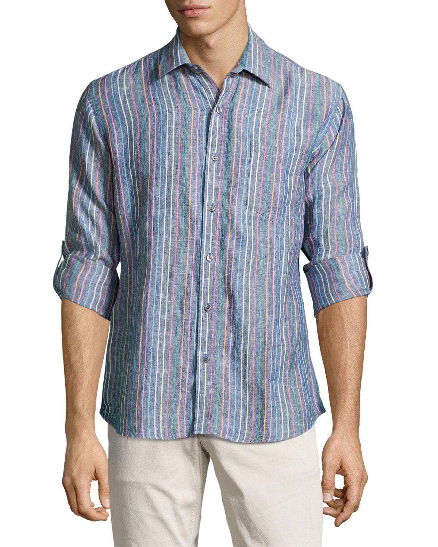 neiman classic fit striped linen sport shirt in