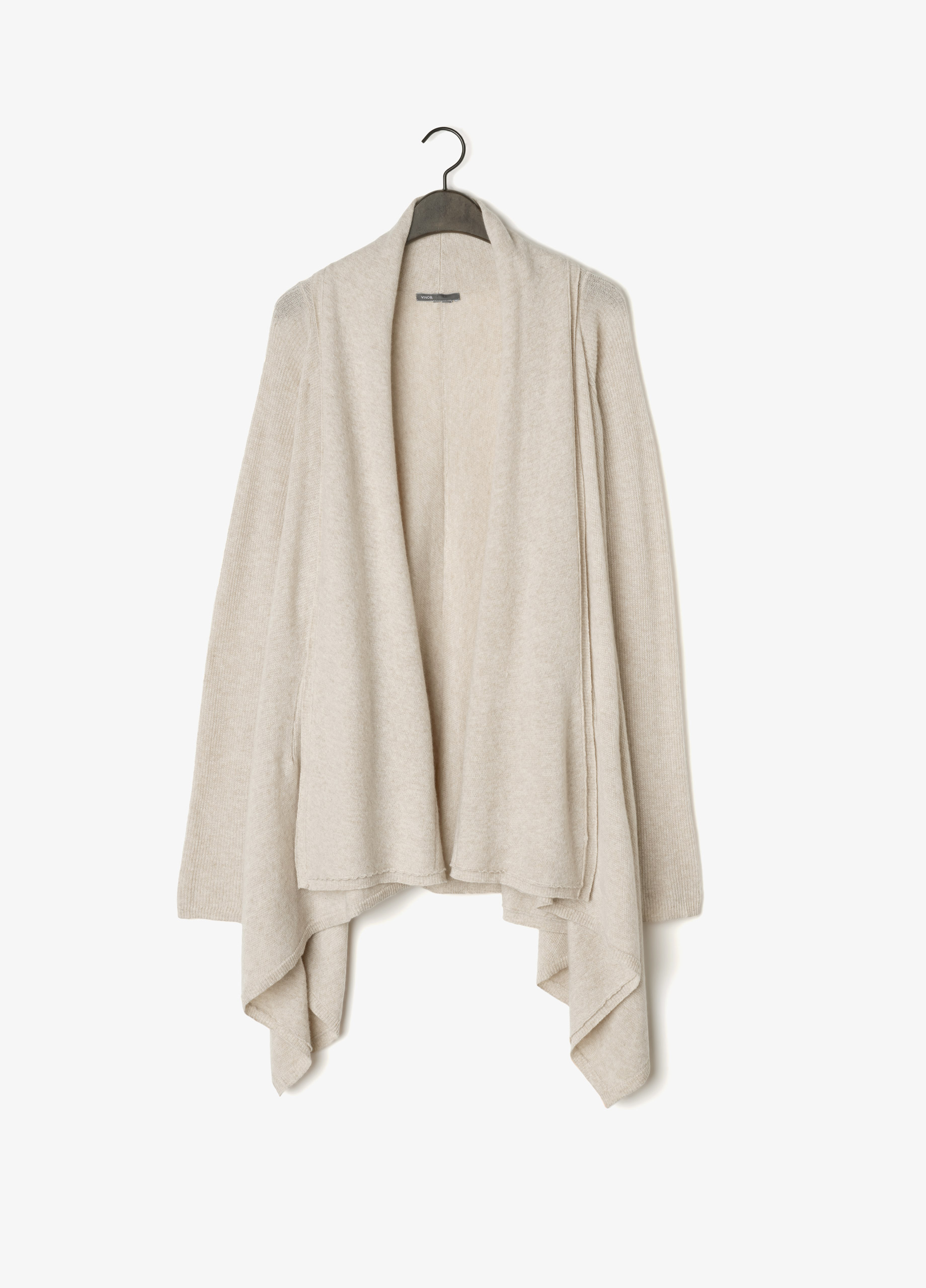 Vince Wool Cashmere Drape Cardigan in Natural | Lyst