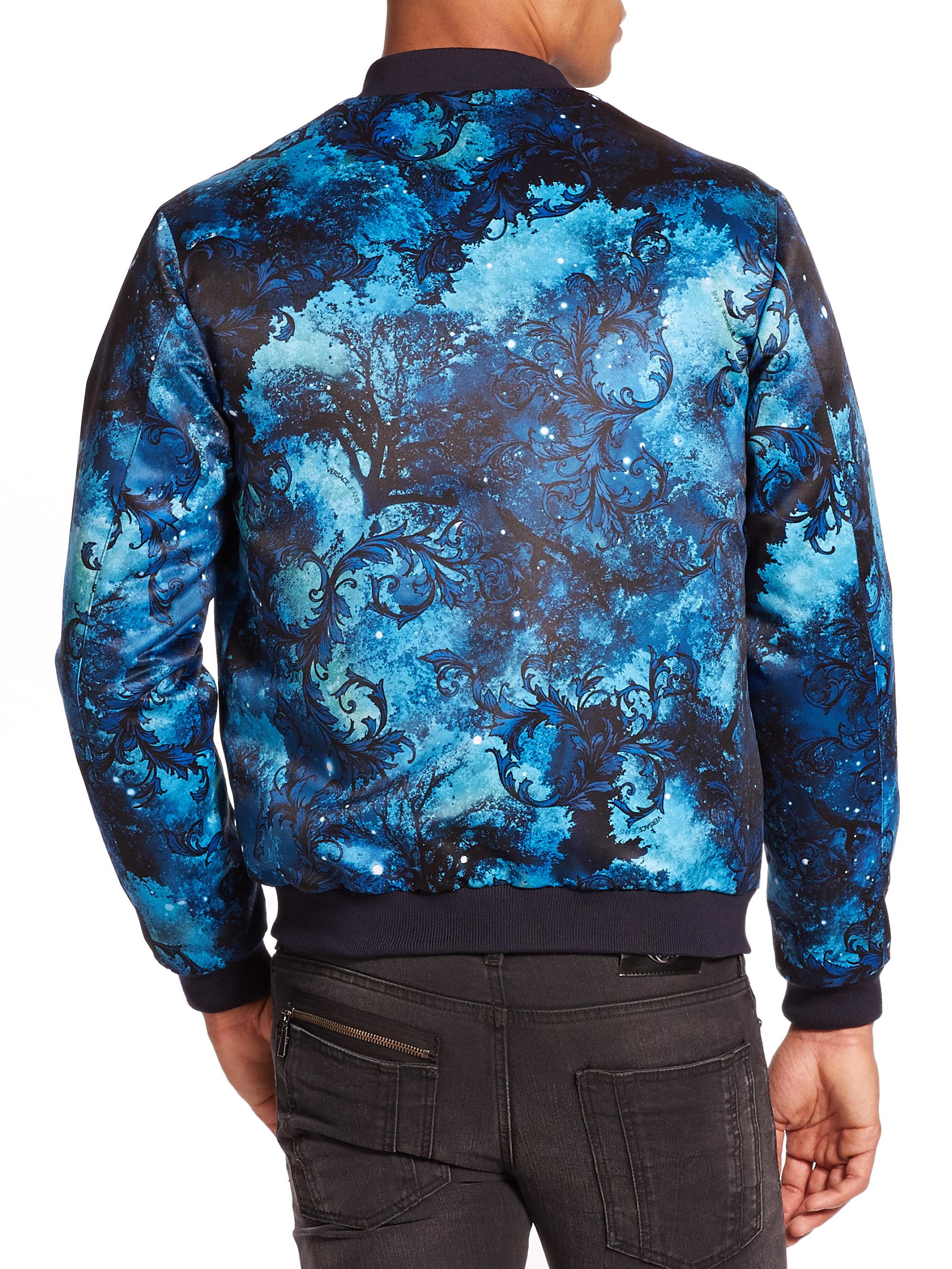 Versace Jeans Celestial Print Jacket In Blue For Men Lyst