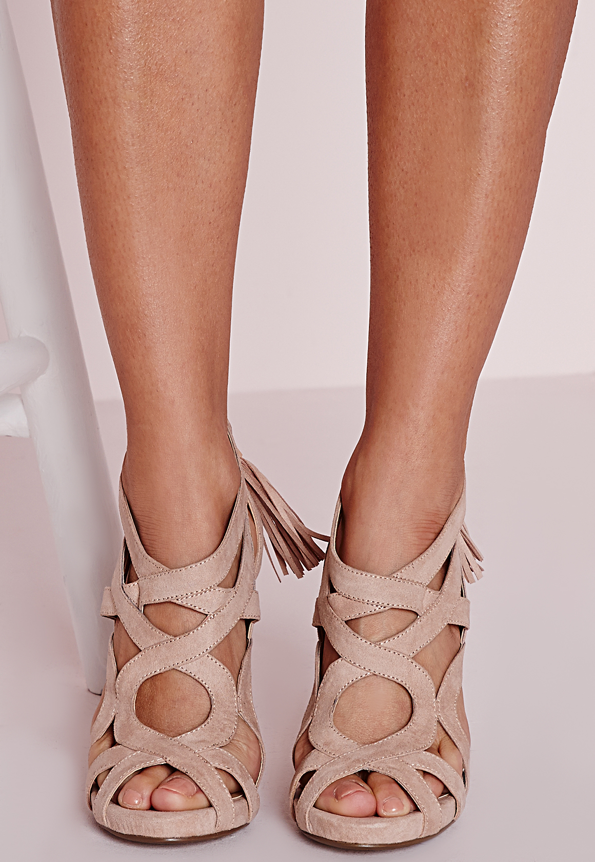b1c54870192 Lyst - Missguided Strappy Heeled Gladiators Nude in Natural