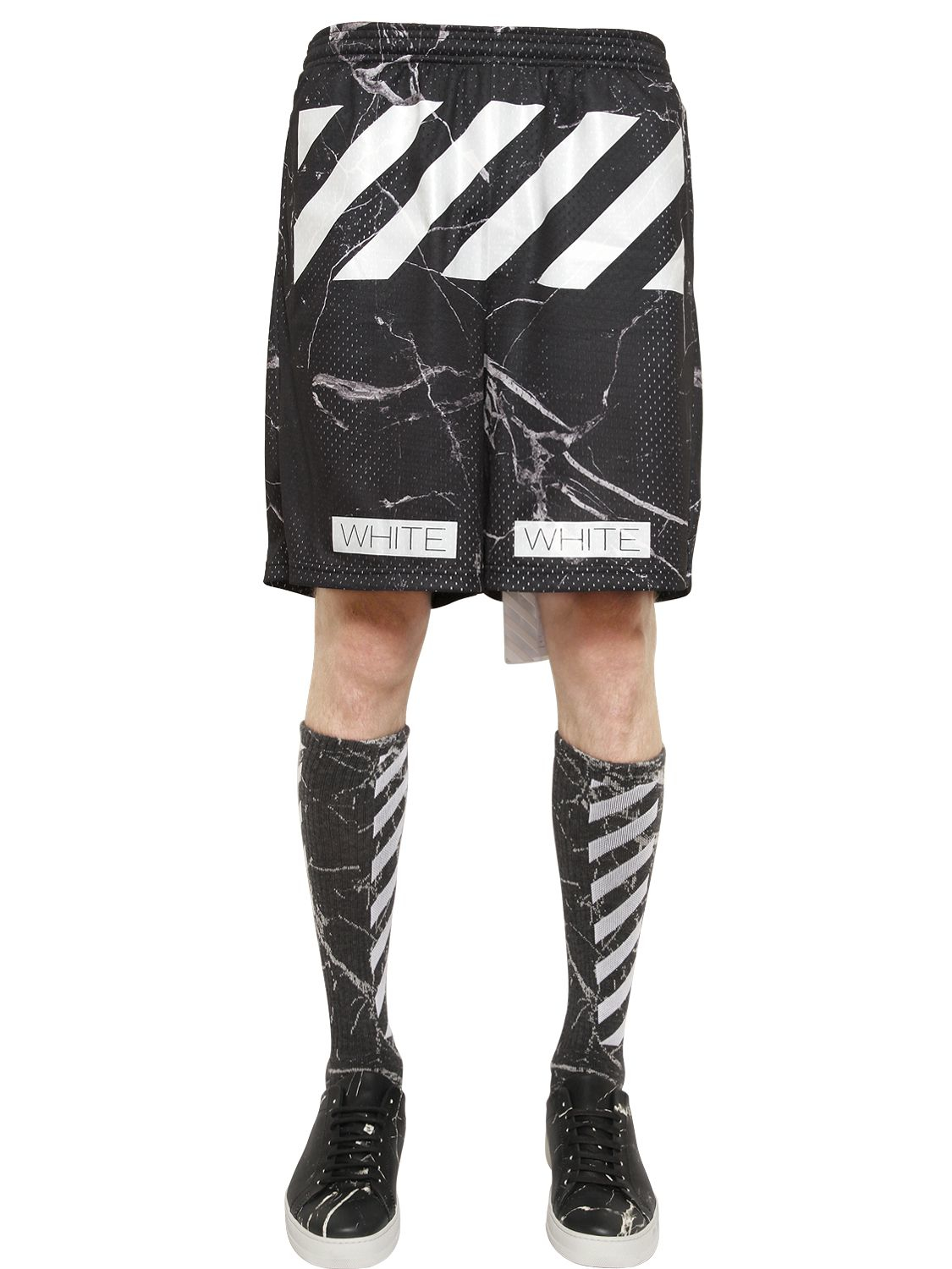 42e1a67c6309 Off-White c o Virgil Abloh Marble Printed Techno Mesh Shorts in ...