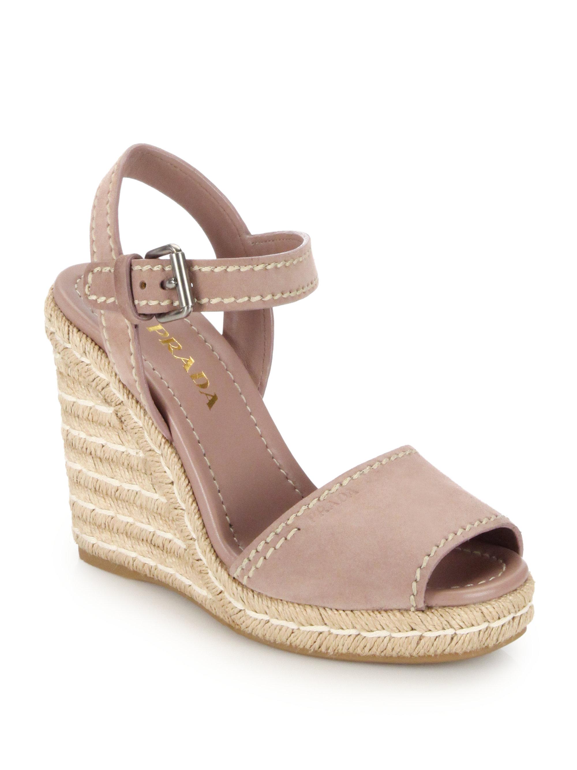 35524043085f Lyst - Prada Suede Peep-toe Espadrille Sandals in Pink