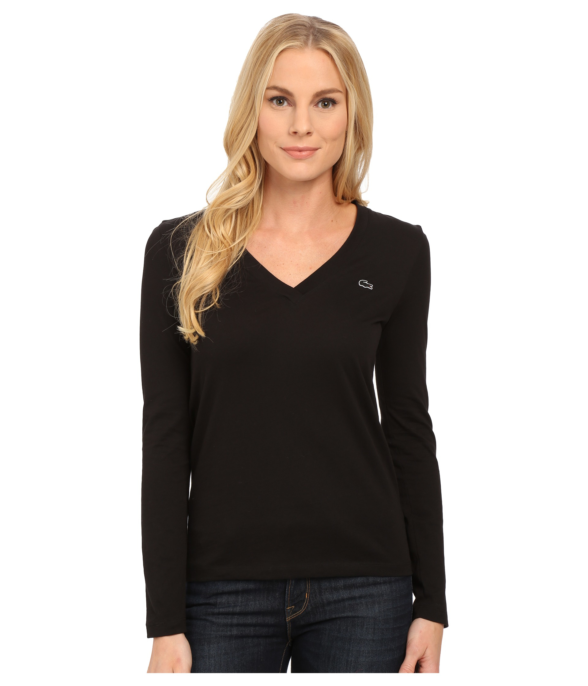 e2ddcdd3ba8e Lacoste Long Sleeve Cotton Jersey V-neck Tee Shirt in Black - Lyst