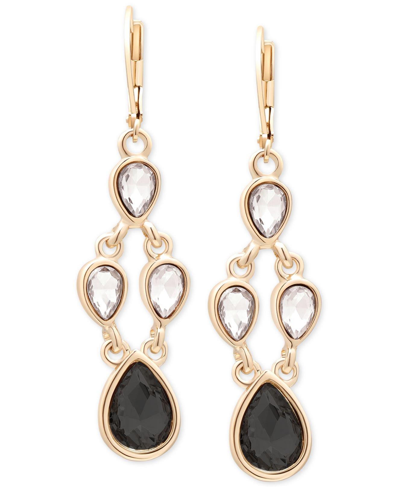 Black Stone Earrings: Tahari T Gold-tone Crystal And Black Stone Chandelier