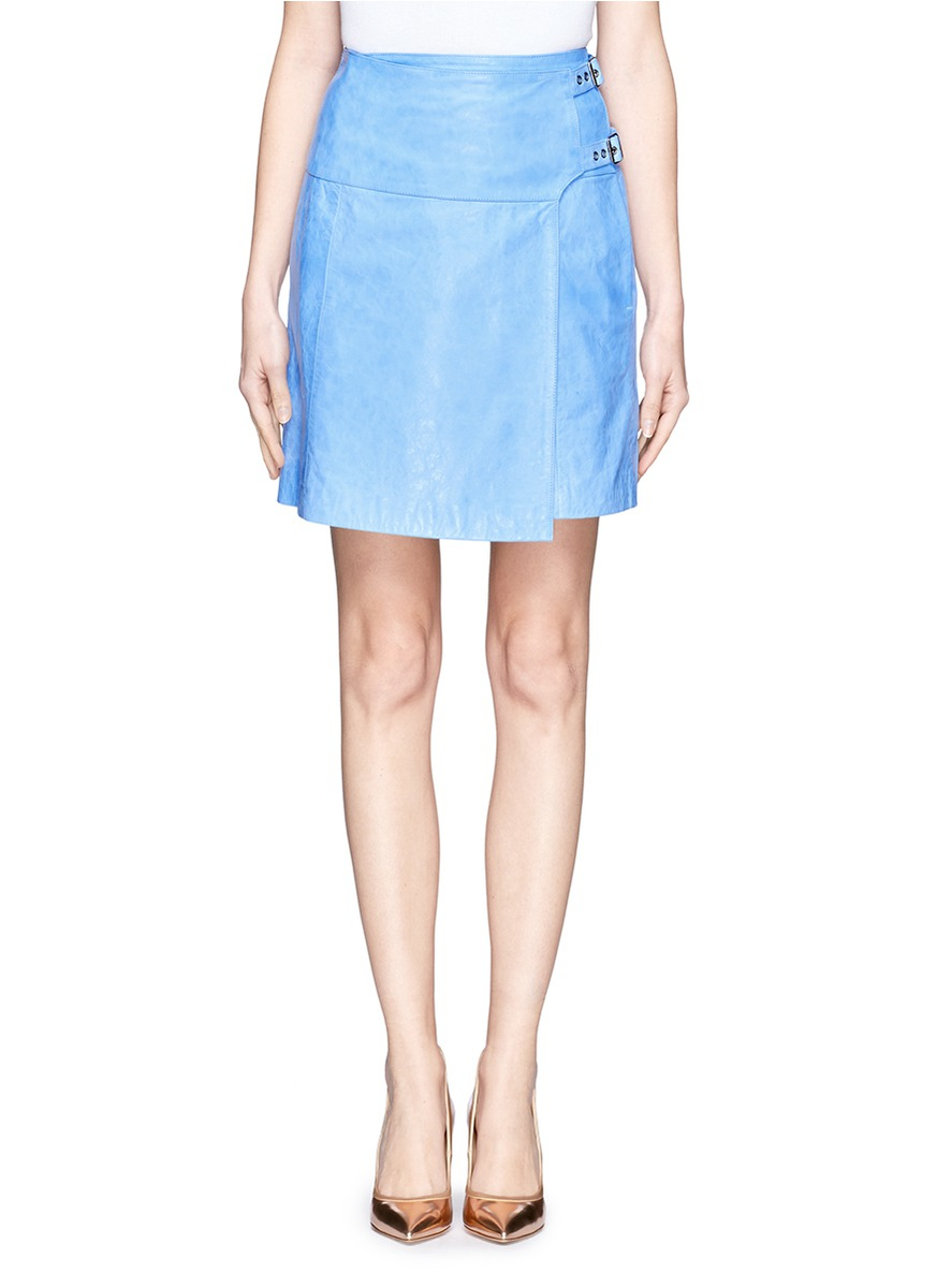 whistles leather wrap skirt in blue blue and green lyst
